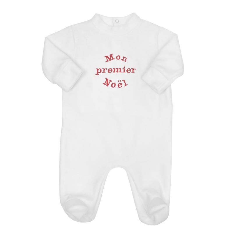 997977364309d pyjama pour bébé brodé du motif mon premier Noël