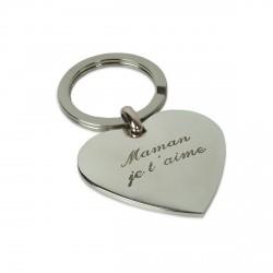 Porte clés cœur gravé. Idée cadeau fête des mères.