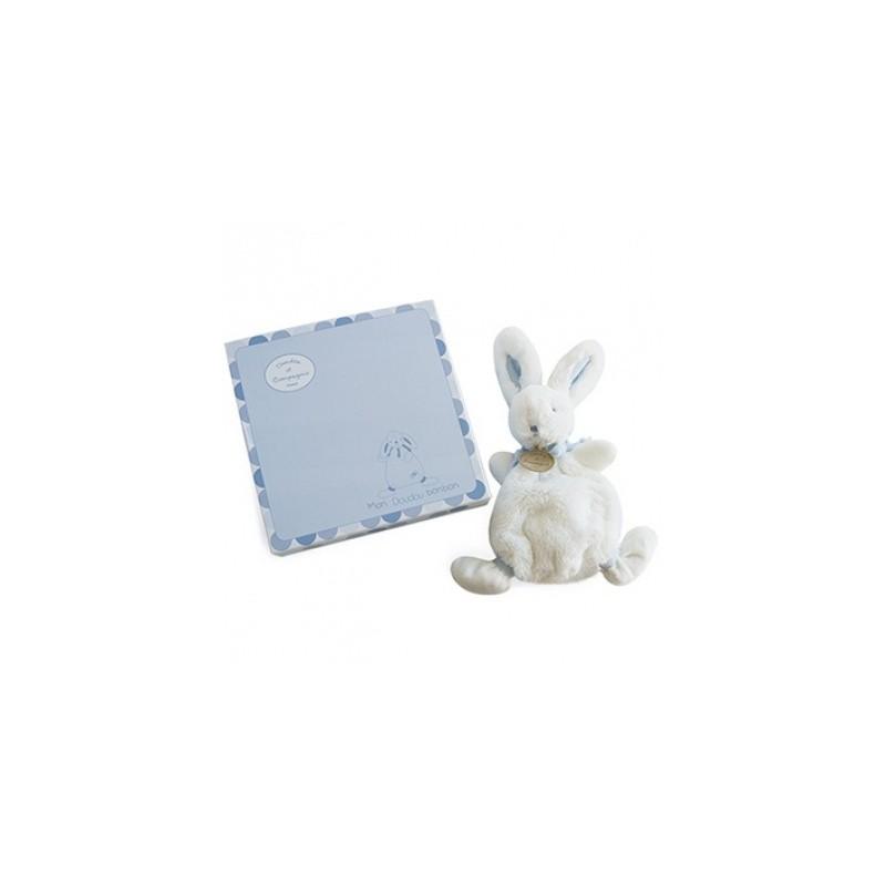 Doudou et Compagnie peluche doudou lapin bleu. Idée cadeau de naissance petit garçon.