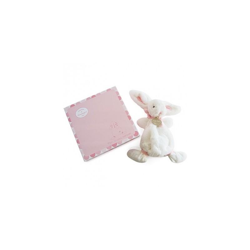 Doudou et Compagnie peluche doudou lapin rose. Idée cadeau de naissance petite fille.