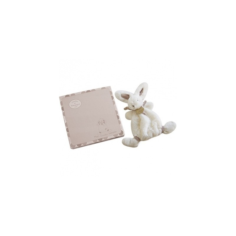 Doudou et Compagnie peluche doudou lapin taupe. Idée cadeau de naissance.