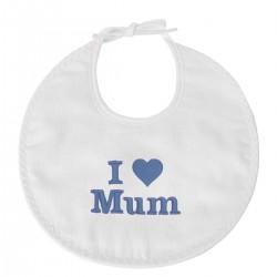 Idée cadeau de naissance : un bavoir brodé I Love Mum