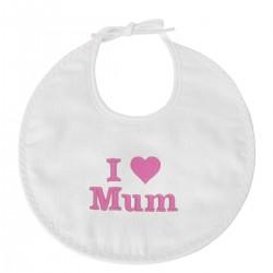 Bavoir naissance brodé I Love Mum