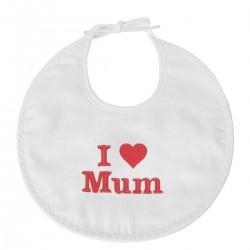 Idée cadeau fête des mères : un bavoir naissance brodé I Love Mum