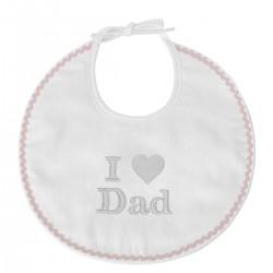 Idée cadeau de naissance : un bavoir brodé I Love Dad
