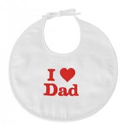Idée cadeau fête des pères : un bavoir brodé I Love Dad
