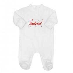 Pyjama dors bien brodé au prénom du bébé avec des étoiles