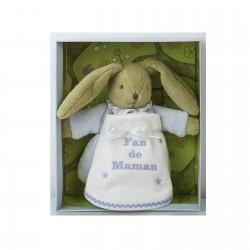 Coffret naissance doudou lapin Trousselier avec bavoir de naissance personnalisé