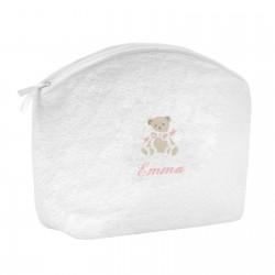Trousse de toilette en éponge blanche personnalisée au prénom de l'enfant avec un petit ours.