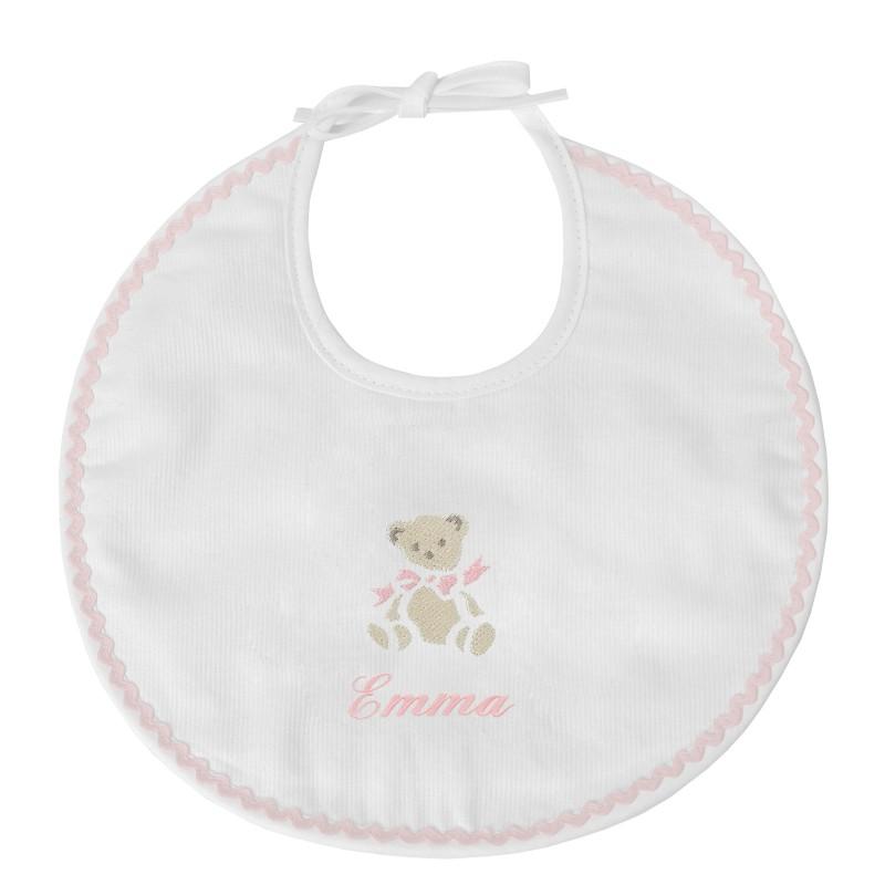 Bavoir de naissance personnalisé au prénom du bébé avec un ours