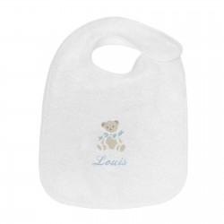 Bavoir brodé au prénom du bébé avec un petit ours