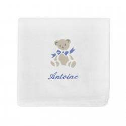 Doudou lange personnalisé au prénom du bébé avec un ours