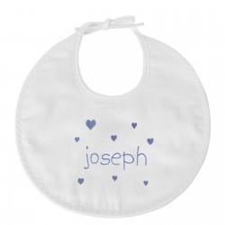 Bavoir naissance personnalisé au prénom du bébé avec des cœurs