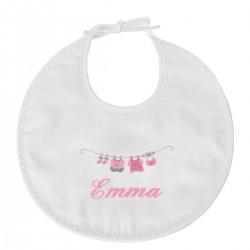Bavoir naissance personnalisé au prénom du bébé avec le petit linge