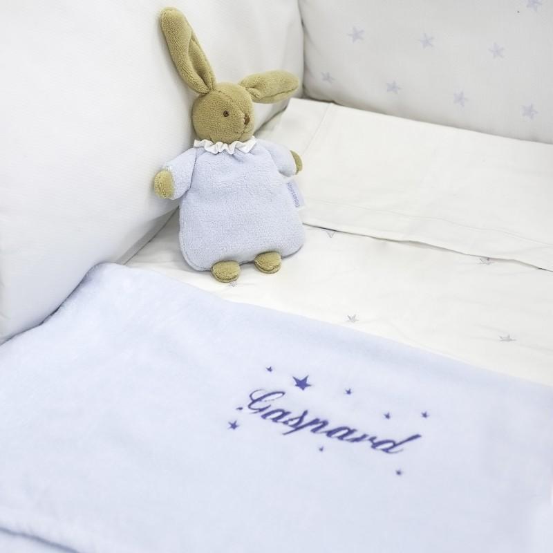 Couverture polaire de Doudou et Compagnie personnalisée au prénom du bébé.