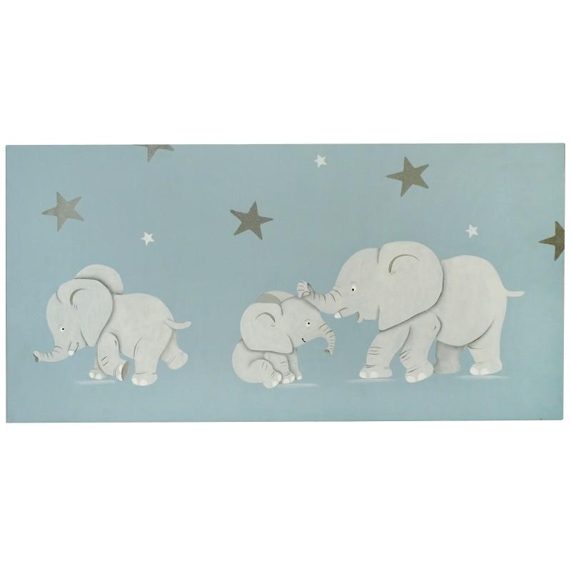 Tableau personnalisé peint à la main au prénom de l'enfant avec des éléphants. Idée décoration chambre enfant.