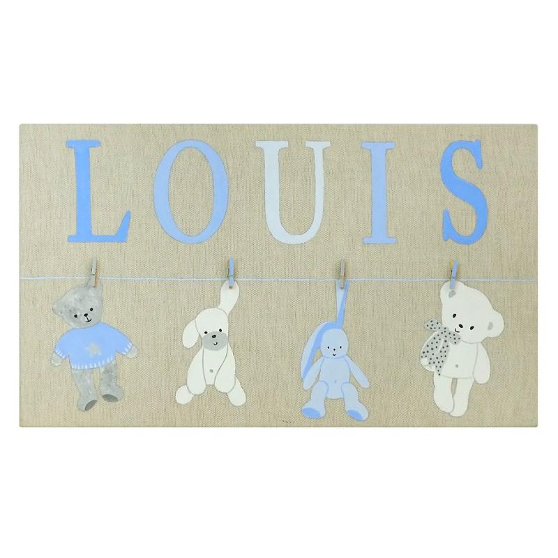 Idée cadeau naissance et décoration chambre enfant : un tableau personnalisé peint à la main au prénom de l'enfant.