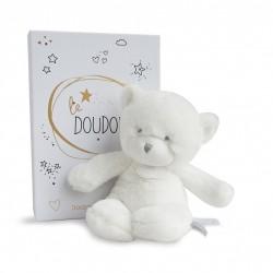 Peluche pantin ours blanc de Doudou et Compagnie.