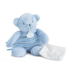 Doudou ours bleu de Doudou et Compagnie. Cadeau de naissance parfait.