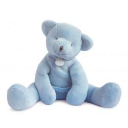 Peluche ours pantin bleu de Doudou et Compagnie. Cadeau de naissance parfait.