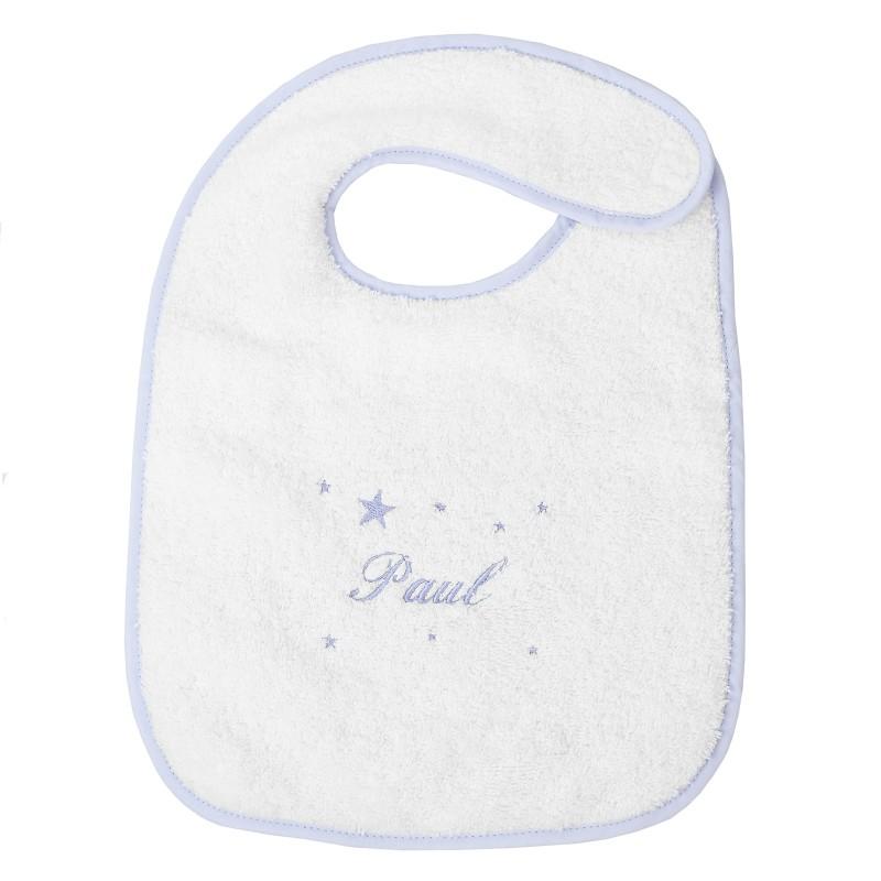 Bavoir de naissance avec attache velcro personnalisé au prénom de bébé.