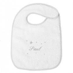 Bavoir de naissance avec attache velcro biais gris personnalisé au prénom de bébé.