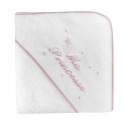 Cape de bain biais rose personnalisée au prénom de bébé.