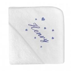 Idée cadeau de naissance, une cape de bain personnalisée.