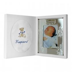 Coffret naissance personnalisé avec doudou lange et cadre au prénom de bébé