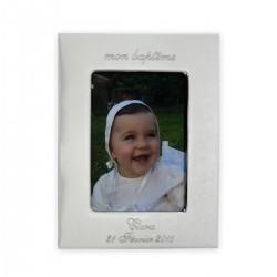 Cadre photo en métal argenté personnalisé au prénom de l'enfant.