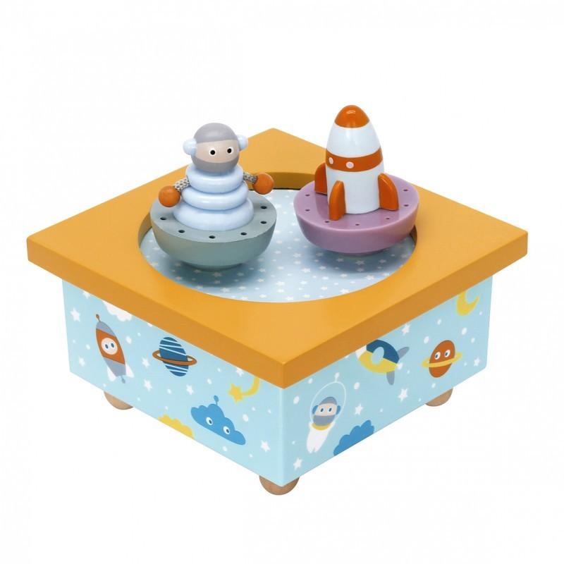 Boite à musique Robot et Fusée de Trousselier. Décoration chambre bébé.