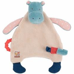 Doudou hippopotame attache tétine et anneau de dentition Les Papoum Moulin Roty