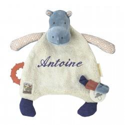 Doudou Hippopotame Les Papoums de Moulin Roty brodé