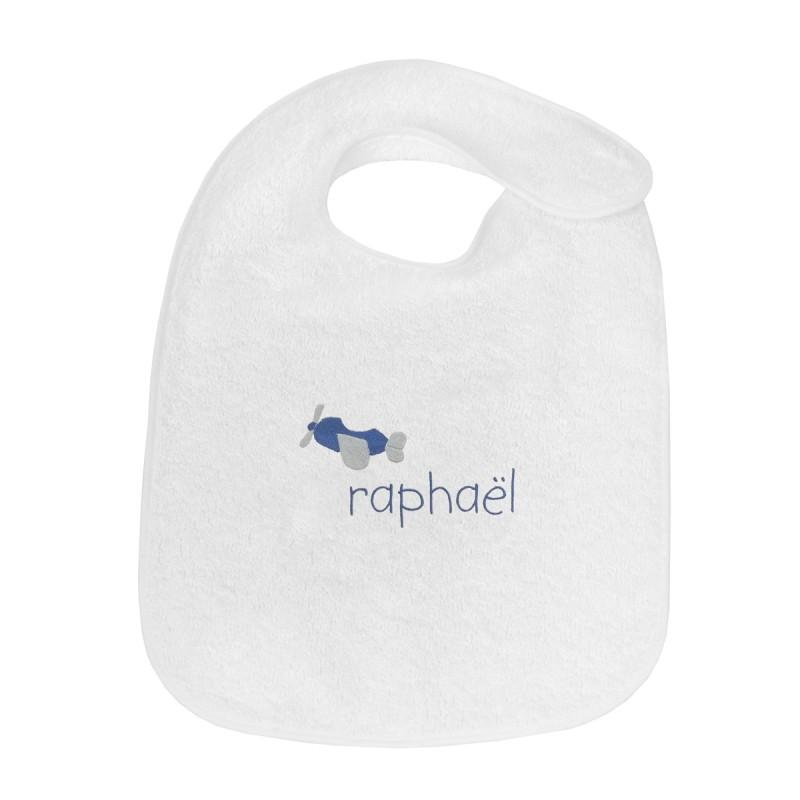 Bavoir personnalisé au prénom du bébé avec un petit avion.