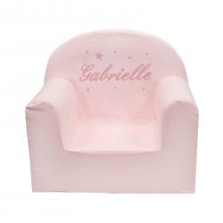 Cadeau de naissance et décoration chambre enfant : un fauteuil club rose personnalisé