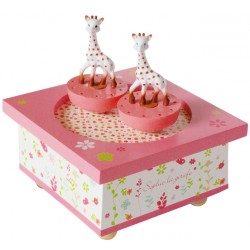 Boite à musique Sophie La Girafe rose de la marque Trousselier. Décoration chambre bébé.