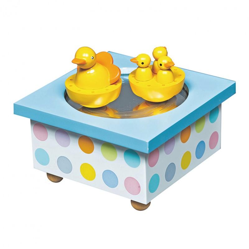 Boite à musique avec des petits canards de la marque Trousselier. Décoration chambre bébé.