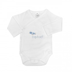 Body naissance personnalisé au prénom du bébé avec un petit avion.