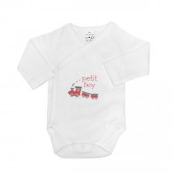 Body croisé bébé personnalisé au prénom avec un train.