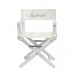 Chaise metteur en scène blanche brodée