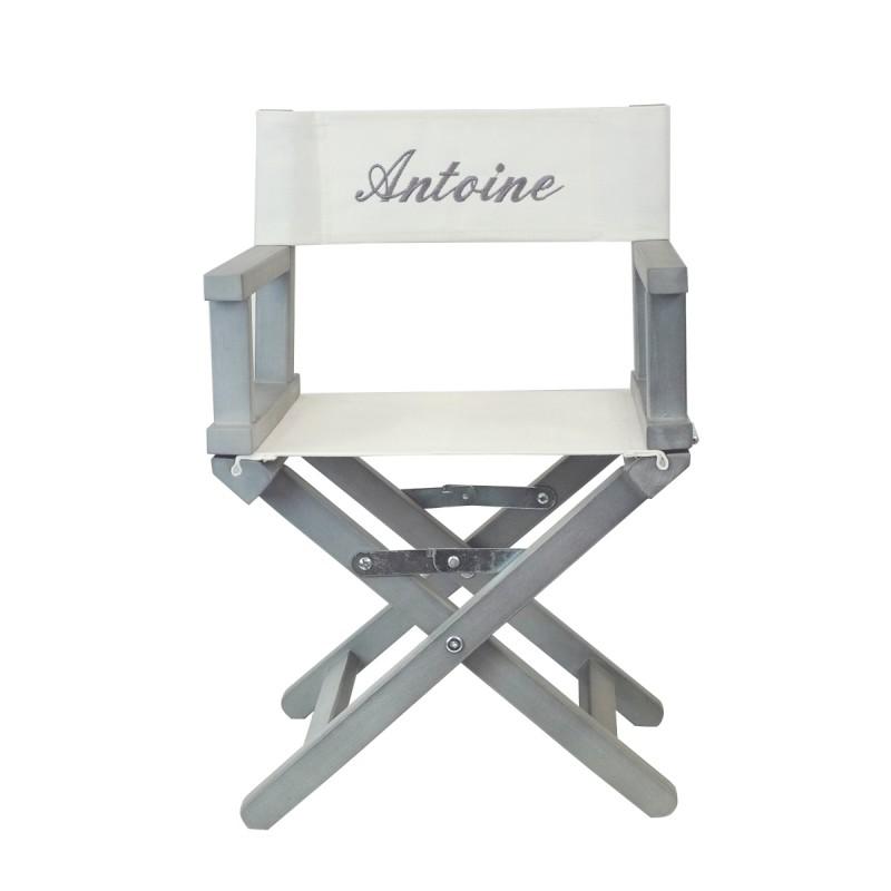 fauteuil metteur en scne brod au prnom de lenfantide cadeau trs originale chassis en acacia gris assise et dossier en toile 100 coton - Fauteuil Metteur En Scene