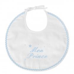 Bavoir de naissance personnalisé au prénom du bébé avec des étoiles.