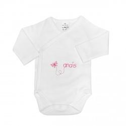 Body naissance personnalisé au prénom du bébé avec un papillon.