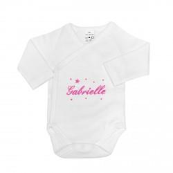 Body naissance personnalisé au prénom du bébé avec des étoiles.