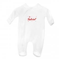 Pyjama petite fille personnalisé avec petit col brodé au prénom avec des étoiles.